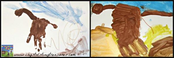 Handprint camels, fun preschool art, photo