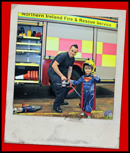 Meeting Fireman Graham, Crystal's Tiny Treasures, fire station tour, community helpers, photo