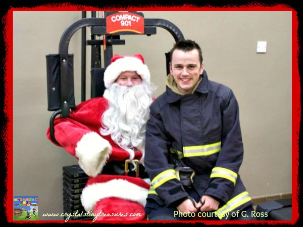 Santa and the fireman, other duties of firemen, Crystal's Tiny Treasures, fire hall tour, photo
