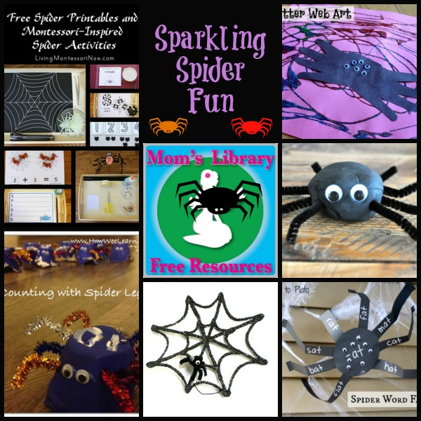 Sparkling Spider Fun with Mom's Library Linky Party at Crystal's Tiny Treasures