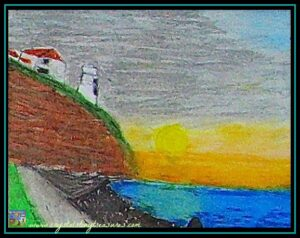 Sunrise By The Lighthouse, oil pastel art, Crystal's Tiny Treasures, first artwork sold,photo