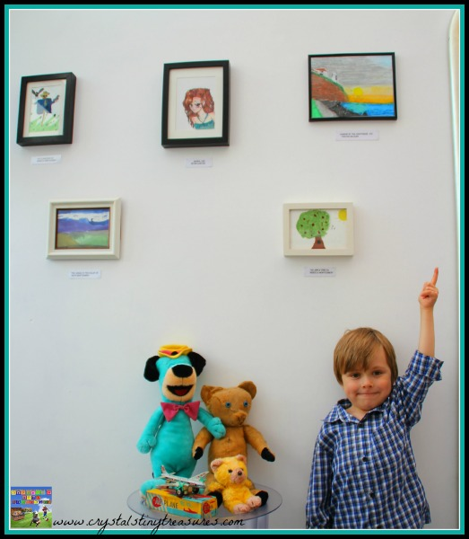 Tristan's First picture in an art gallery, children and art, young artists, oil pastels, photo