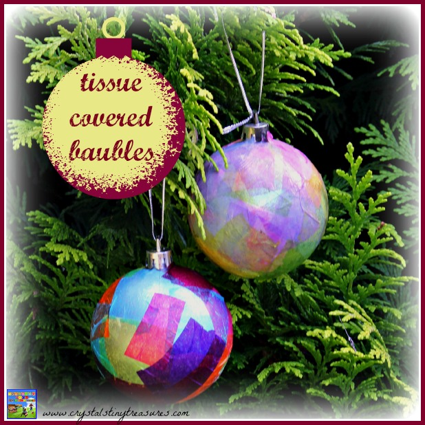 Tissue covered christmas baubles castle view academy for Crystal baubles christmas