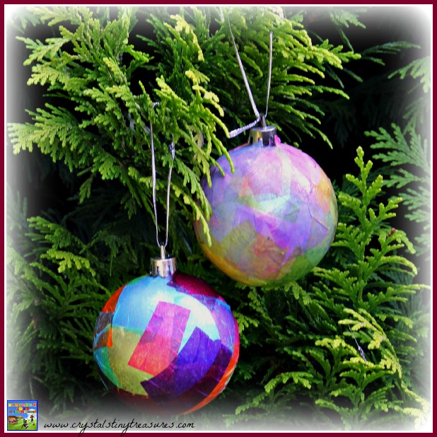 Tissue Covered Christmas Baubles, Crystal's Tiny Treasures, Christmas crafts for kids, photo