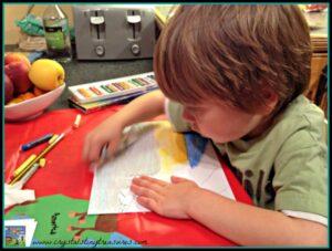 Children working with oil pastels, using oil pastels, children's artwork, photo