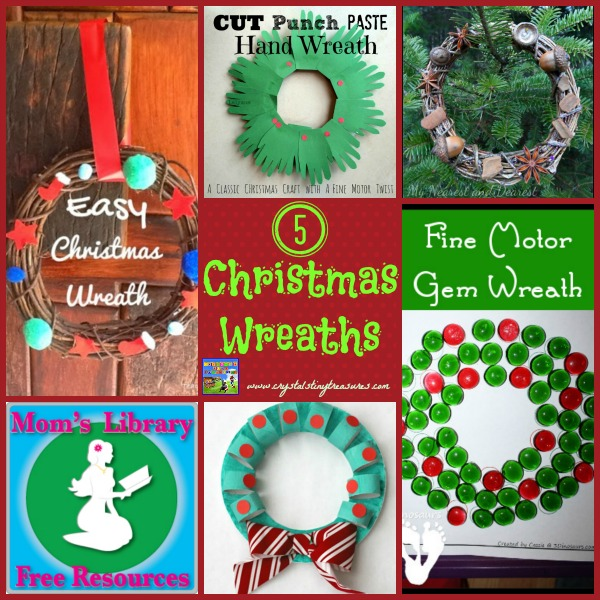 5 Christmas wreath ideas for kids on Mom's Library at Crystal's Tiny Treasures