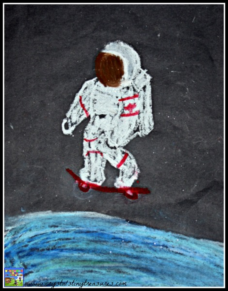 Pastel drawing of Canadian Astronaut Chris Hadfield, photo