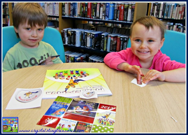 Making Manner-Man badges at the library, Superhero books for kids, learning about bullying, kids book activities, photo