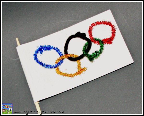 Pipe cleaner Olympic Flag craft, Crystal's Tiny Treasures, preschool Olympic crafts, Olympic crafts for kids, photo