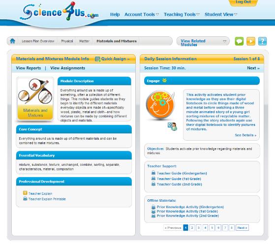 Science4Us.com screenshot, on-line science for K-2, photo