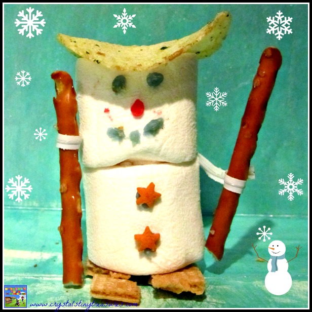 skiing marshmallow snowman, fun food, Winter Olympic Snacks, Crystal's Tiny Treasures, photo