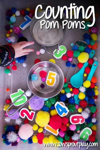 counting pom poms, photo