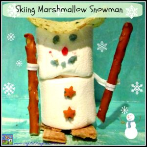 skiing marshmallow snowman by Crystal's Tiny Treasures