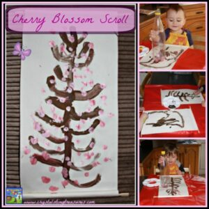 Japanese Cherry Blossom Scroll made with a plastic bottle by Crystal's Tiny Treasures