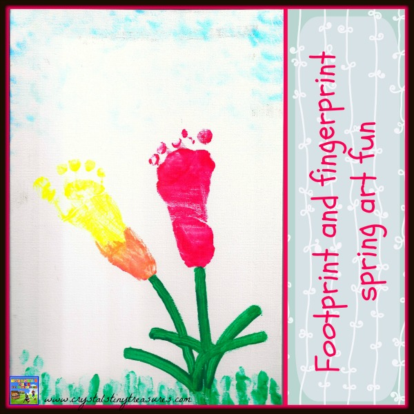 Footprint and fingerprint spring art fun by Crystal's Tiny Treasures