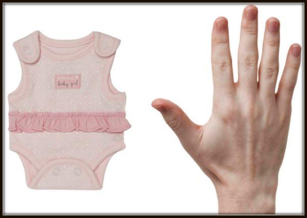 George premature baby bodysuit to scale, photo