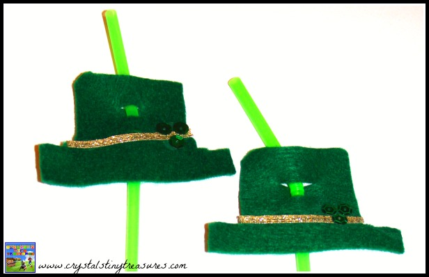 St. Patrick's Day straw decorations, felt crafts for St. Patrick's Day, photo