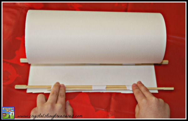 Making a Japanese Scroll, Japanese crafts for kids, photo