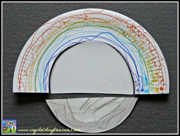 How to cut a paper plate to make a rainbow, rainbow crafts for kids, paper plate crafts, photo