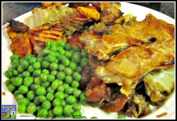 Guinness pie with grilled potatoes and peas, Irish meals, St. Patrick's day recipes, photo