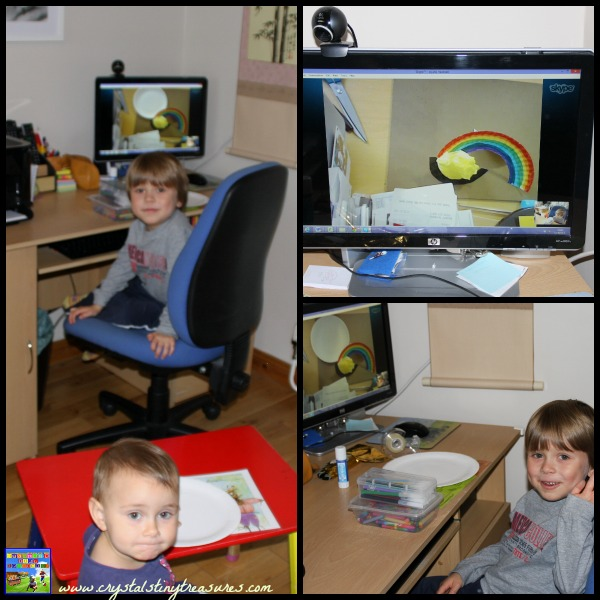 Crafting with grandma over the webcam, bonding with grandparents over the miles, rainy day activities for kids, photo
