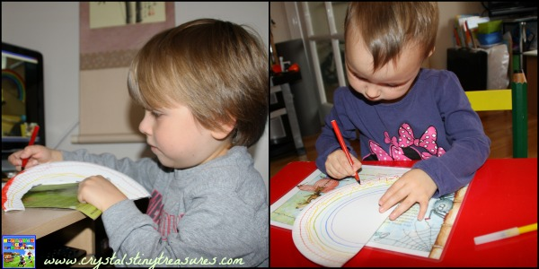 Colouring a rainbow, learning about rainbows, crafting over the internet, photo