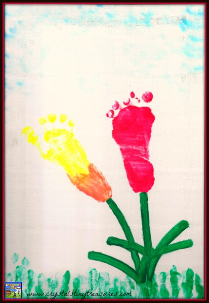 Footprint tulip art with fingerprint grass, footprint artwork for kids, spring art for toddlers, Crystal's Tiny Treasures, photo