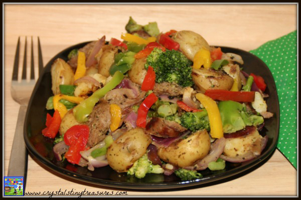 Sausgae Medley, a tasty family meal, Maille mustard recipe, try a new recipe, sausage and potatoes, photo