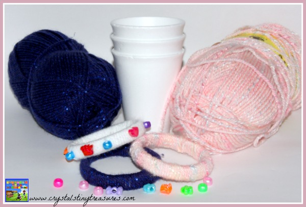 Styrofoam cups yarn and beads make beautiful bracelets for girls, photo