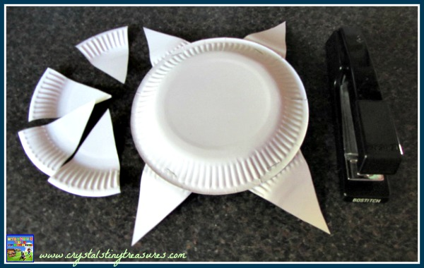 Making a sunshine from paper plates, weather crafts for kids, preschool crafts, photo
