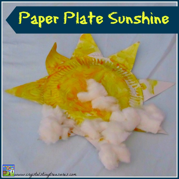 Paper Plate Sunshine craft for kids by Crystal's Tiny Treasures