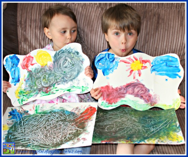 Hand made fingerpaint masterpieces, primary school books with activities, rhyming books for kids, daycare activities, photo