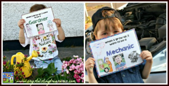 When I Grow Up I want to be a Gardner & Mechanic , educational printables, children's book activities, Crystal's Tiny Treasures, photo