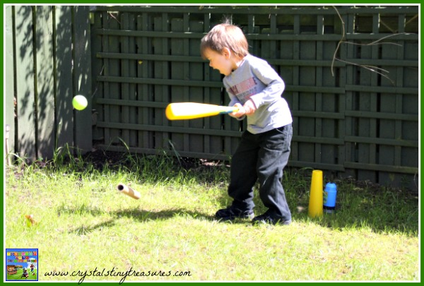Learning to play baseball, Crystal's Tiny Treasures, outdoor fun for Casey at The Bat, photo