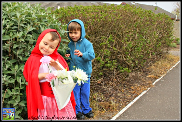 Acting out Little Red Riding Hood, daycare fun, dressing up clothes, photo
