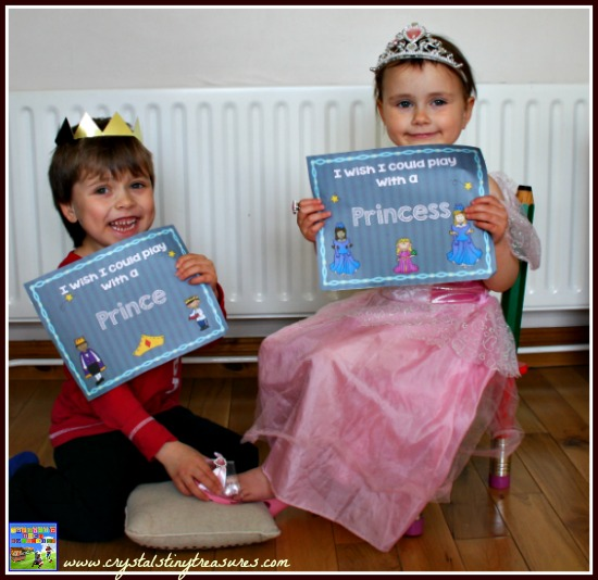 I wish I could play with a Prince & Princess, pretend play posters, classsroom activities, daycare photo opps, rainy day fun for children, photo