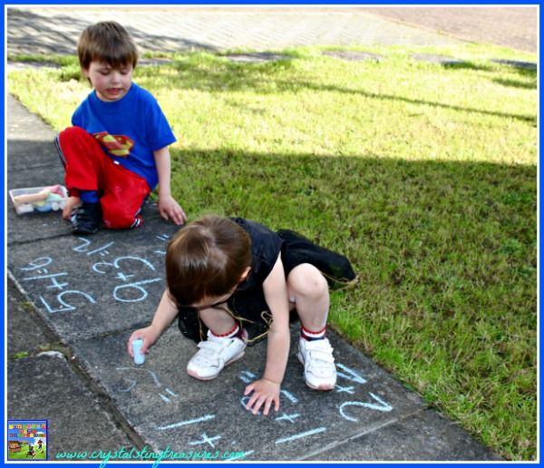 Have fun learning math outdoors with sidewalk chalk, summertime learning, photo