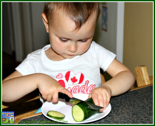 Kids in the kitchen, summer salads, fine motor skills, photo