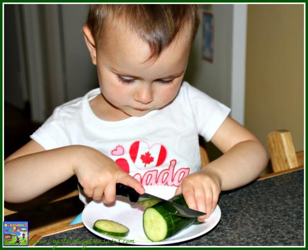 Kids in the kitchen, summer salads, fine motor skills, photo