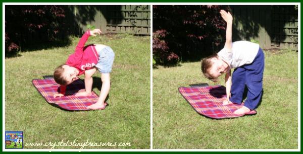 Triangle kids yoga pose, Crystal's Tiny Treasures, interactive books, photo