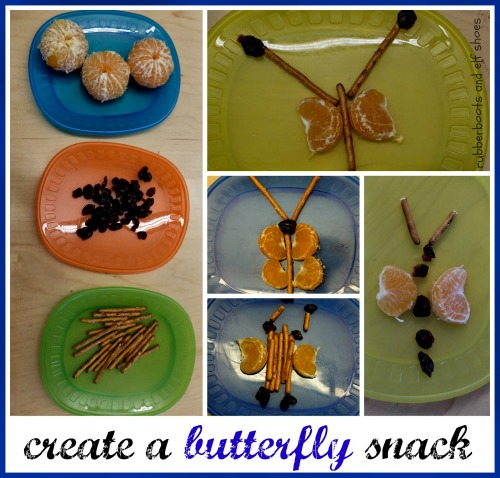 create a butterfly snack from rubber boots and elf shoes