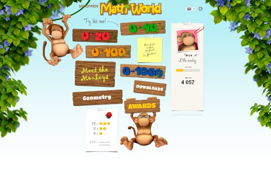 10 Monkeys Math World levels