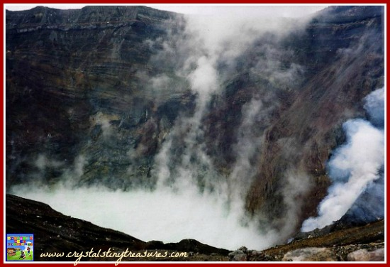 Aso-san volcano in Japan, science for kids, kitchen science, photo