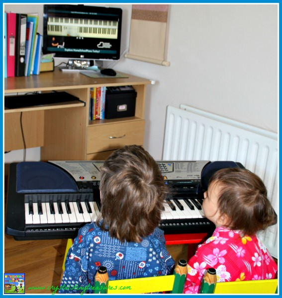 Watching HomeSchool Piano lessons, Crystal's Tiny Treasures, learning piano at home, photo