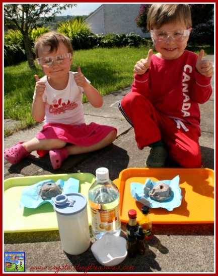 Always wear protective eye wear when doing science experiments, fizzy science, easy science experiments for kids, photo