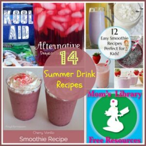 14 Summer Drinks Recipes on Mom's Library with Crystal's Tiny Treasures