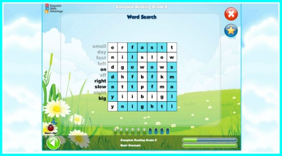 Word Search fun with Essential Skills Advantage, fun eradingprograms for kids, kindergarten reading, photo