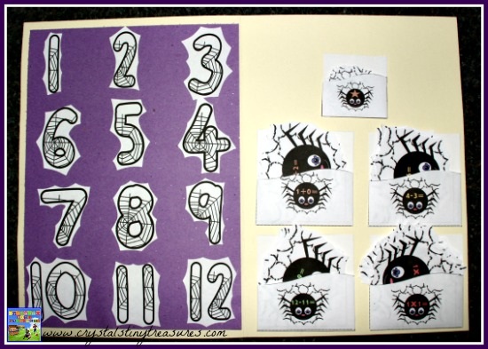 Spider Web Math Match file folder games set up, math games for Halloween, photo