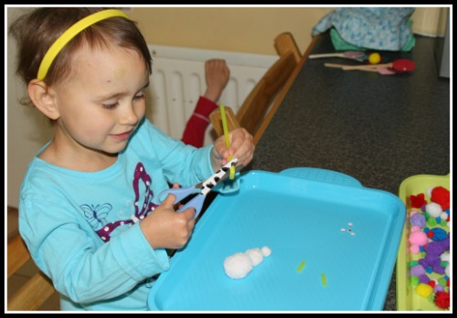 Fine Motor Practice while making a sheep craft