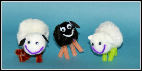 Pom Pom sheep craft for the book The Herd Boy